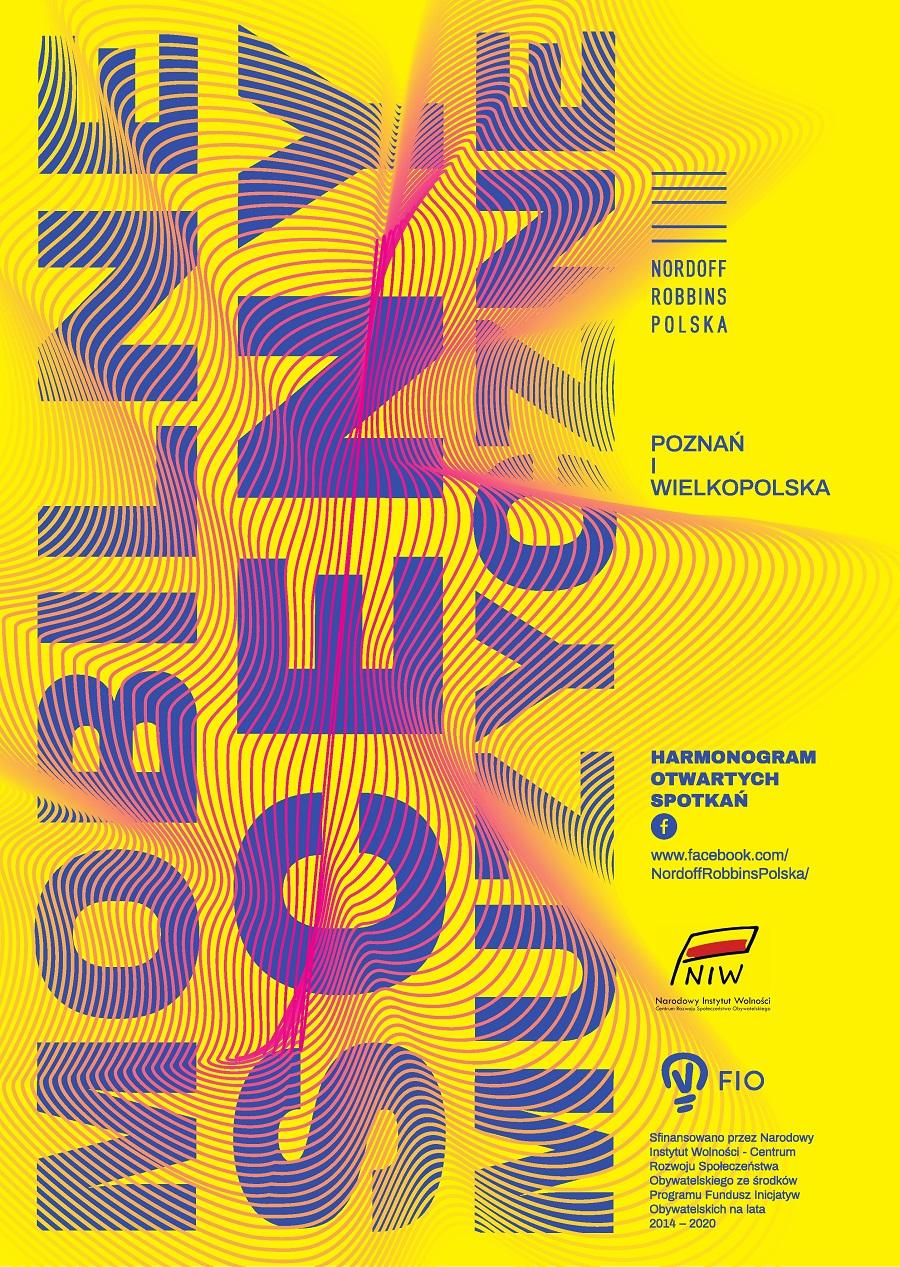 Plakat promujące Mobilne Sceny Muzyczne Fundacji Nordoff Robbins Polska