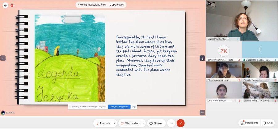 Grafika przedstawia zrzut ekranu wykonany podczas spotkania online. Widać slajd z prezentacji oraz wizerunki osób biorących udział w spotkaniu