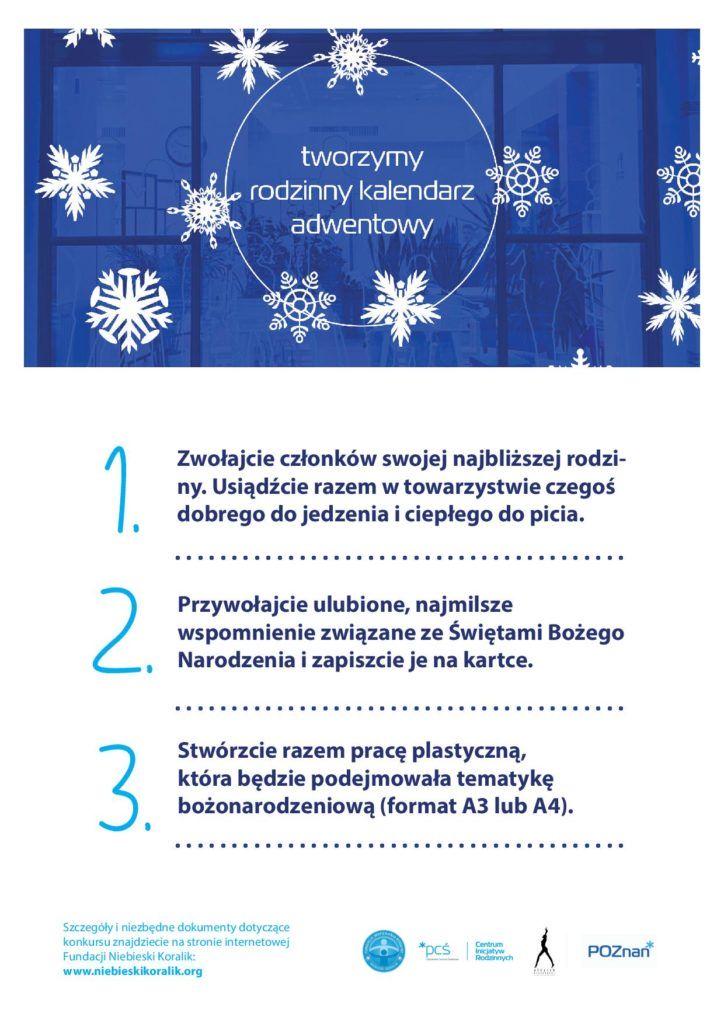 Grafika przedstawiająca świąteczne motywy na oknie wystawowym CIR oraz treść: Zwołajcie członków swojej najbliższej rodziny. Usiądźcie razem w towarzystwie czegoś dobrego do jedzenia i ciepłego do picia. Przywołajcie ulubione, najmilsze wspomnienie związane ze Świętami Bożego Narodzenia i zapiszcie je na kartce. Stwórzcie razem pracę plastyczną, która będzie podejmowała tematykę bożonarodzeniową (format A3 lub A4).