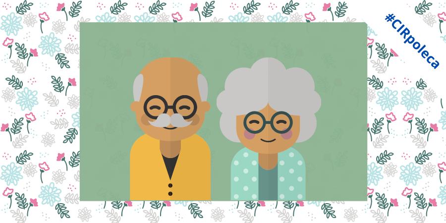 W kwiecistej ramce na zielonym tle znajdują się grafiki dziadka i babci