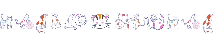 Grafika jest powtórzeniem pierwszej zamieszczonej w nagłówku artykułu. Jest to fragment tła. Widzimy na niej kotka przedstawionego w formie rysunku konturowego. Pierwszy kociamber stoi na czterech łapkach i skierowany jest w naszą stronę w perspektywie ¾. Kolejne stworzenie stoi na dwóch łapkach profilem i łapkami przednimi opiera się o kłębek włóczki. Trzeci kotek siedzi do nas tyłem i możemy podziwiać jego majestatyczny ogon. Kolejny siedzi do nas przodem, lecz jego łowie skierowane jest w lewą stronę w 3/4 . Kolejny kotek leży i śpi a kształtem przypomina bochenek chleba z ogonkiem. Kolejne przedstawienie to łepek kotka, który zamiast oczu ma serduszka. Czwarty kotek jest antropomorfizowany i przykłada łapkę do pyszczka co możemy odczytać jako chichotanie. Kolejny kot przyjmuje pozycję boczną raczej stojącą z wyprostowanymi przednimi łapkami. Kolejny śpi jednak jego tłowie jest dziwnie wygięte. Kolejny kotek to powtórzenie pierwszej ilustracji.