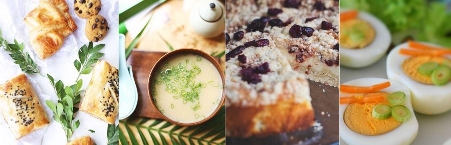Grafika składa się z 4 zdjęć przedstawiających kolejno: różne ciastka udekorowane gałązką bukszpanu, miseczkę białej zupy posypanej pokrojonym szczypiorkiem, placek drożdżowy z owocami i połówki jajek udekorowane szczypiorem