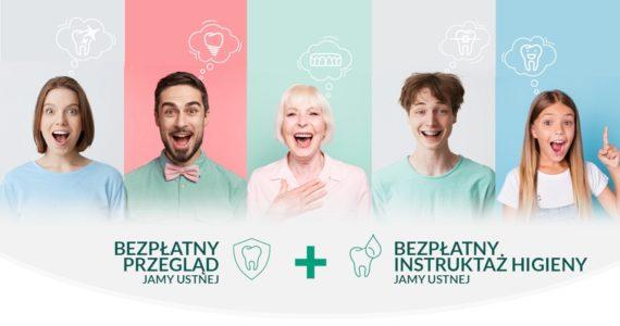 """Grafika przestawia pięcioro uśmiechniętych ludzi - 2 mężczyzn i 3 kobiety na jasnych tłach. Poniżej widać napis """"bezpłatny przegląd jamy ustnej"""" oraz """"bezpłatny instruktaż higieny jamy ustnej"""""""