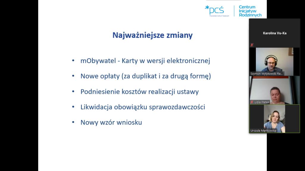 Zdjęcie pokazuje zrzut ekranu wykonany podczas spotkania, na którym prezentowano zmiany w Karcie Rodziny Dużej