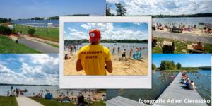 Kompozycja pięciu fotografii, które wykonał Pan Adam Ciereszko. Cztery przedstawiają miejskie kąpieliska w Kiekrzu, Krzyżownikach i Strzeszynku oraz nad Rusałką i Maltą. Na piątej środkowej stoi ratownik plecami do nas spoglądając na plażę miejską.