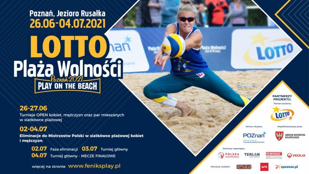Plakat z kobietą odbijającą piłkę na boisku plażowym zawierający harmonogram wydarzenia.