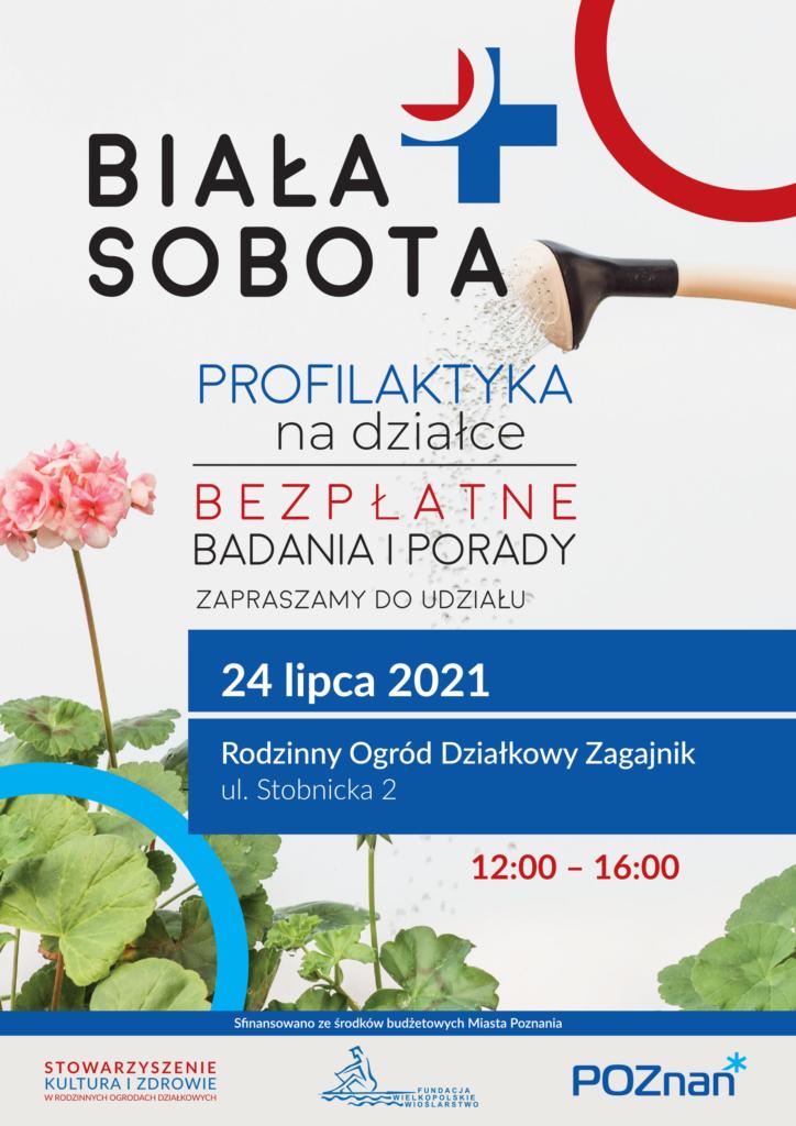 Plakat na jasnym tle z kwiatami i konewką, zawierający informacje o wydarzeniu.