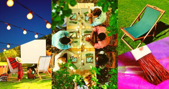 Kilka zdjęć oddających atmosferę jaka panuje w Koszarach Kultury. Ludzie siedzący przy stole - uczestnicy warsztatów, ekran kinowy w plenerze oraz leżak. Fotografia jest kolorowa i radosna, ma zaprosić do uczestniczenia w wydarzeniach organizowanych na Łazarzu.