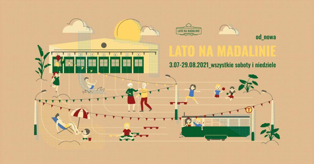 Plakat animowany zajezdni tramwajowej z tytułem wydarzenia.