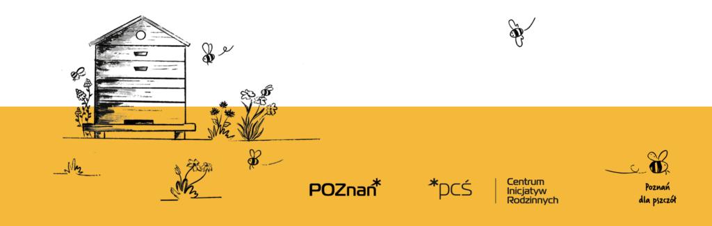 Biało żółta grafika zawierająca loga organizatorów oraz rysunkowy ul i pszczoły w lewej części.
