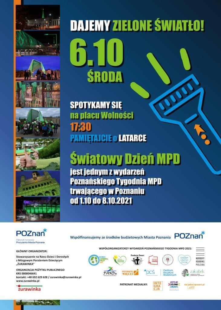 Infografika. Plakat wydarzenia. Dajemy Zielone Światło, środa 6 października. Spotykamy się na placu Wolności o godzinie 17:30. Pamiętajcie o latarce. światowy Dzień MPD.
